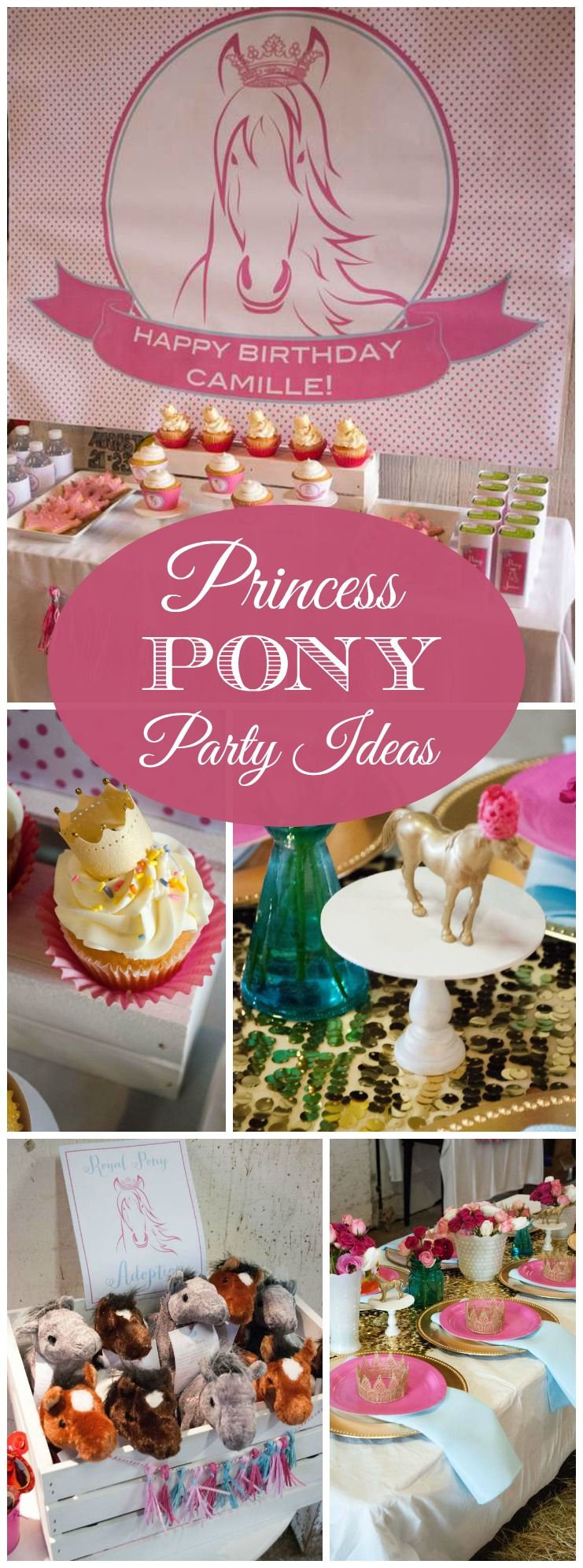 What a pretty pink and gold pony and princess party! See more party ideas at CatchMyParty.com!