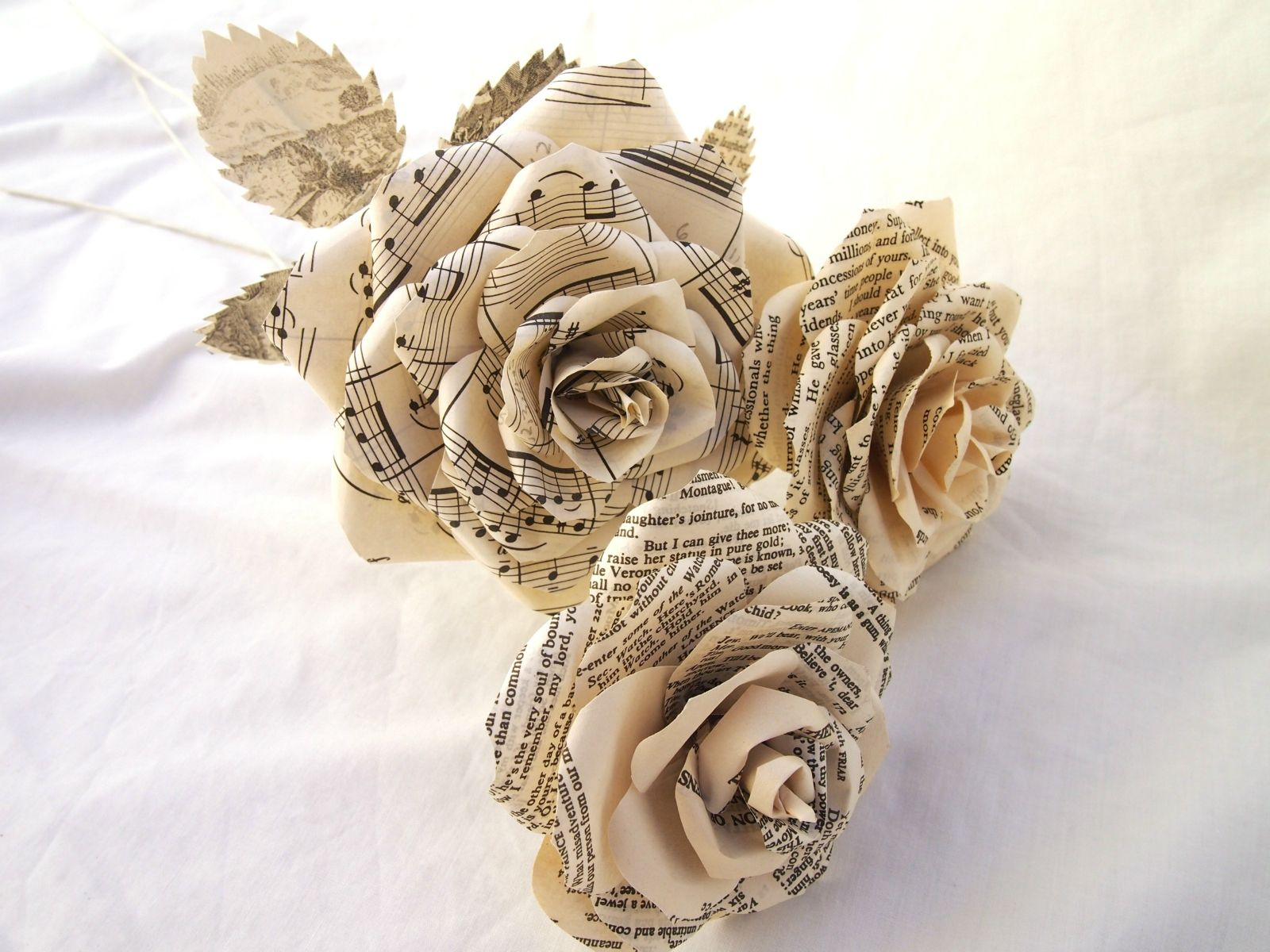 Three Recycled Paper Roses Paper roses, First wedding