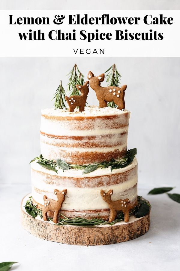 Lemon & Elderflower Cake with Chai Spice Biscuits - Cupful of Kale #christmasweddingideas