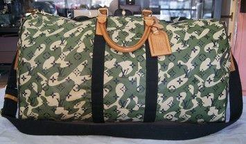 Louis Vuitton Rare Monogramouflage Keepall 55 Camouflage Camo Duffle Murakam Green/Tan Travel Bag #camo #lv