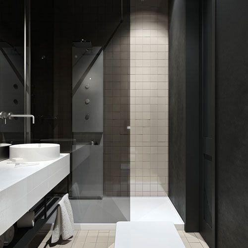 Spiegelwand in badkamer ontwerp - Interior inspiration | Pinterest ...