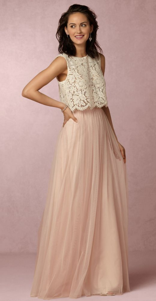 45beb7eda4 Two Piece Sleeveless Lace Top Pink Tulle Skirt Bridesmaid Dress ...