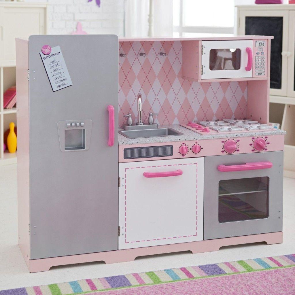 Pink Kitchen For Kids: Pretty-Pink-Argyle-Kitchen-Set-For-Kids-By-Kidkraft-Kids