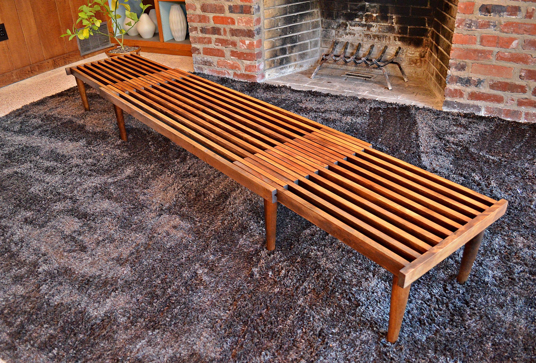 Authentic 1960 s Mid Century Vintage Expandable Slat Bench