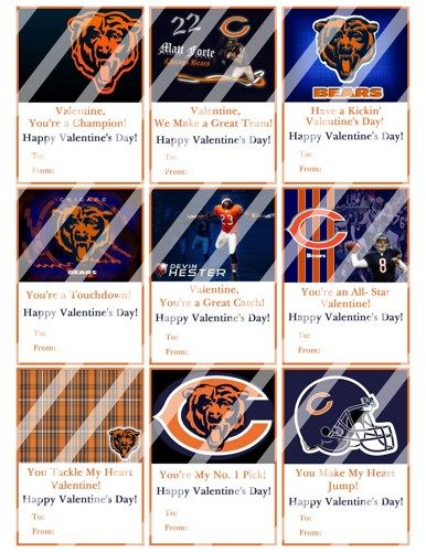 Chicago Bears Printable Digital Personalized Valentines Day Cards #3