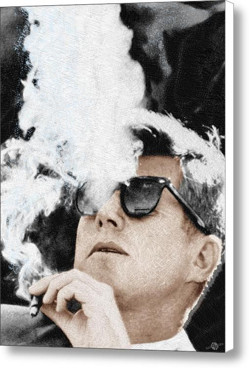 John F Kennedy Cigar And Sunglasses Canvas Print / Canvas Art By Tony Rubino