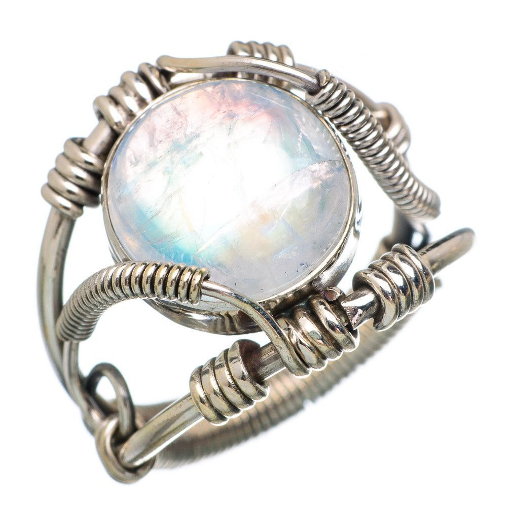 Rainbow Moonstone 925 Sterling Silver Ring Size 8.75 RING783248