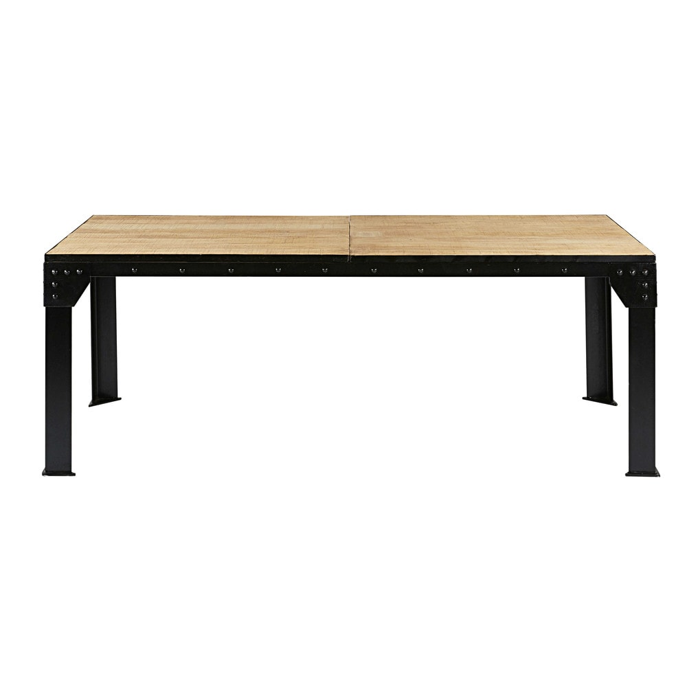 Table A Manger Extensible 8 A 12 Personnes En Manguier Et Metal