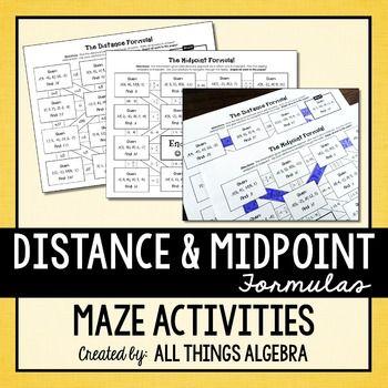 Distance Formula And Midpoint Formula Mazes Midpoint Formula Distance Formula Midpoint The distance formula worksheet answers