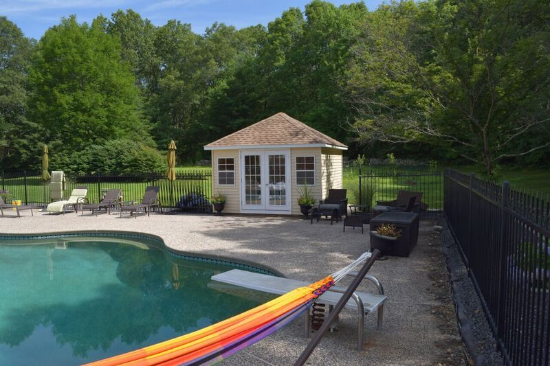 this small poolhouse features vinyl siding exterior and shingled hip rh pinterest com