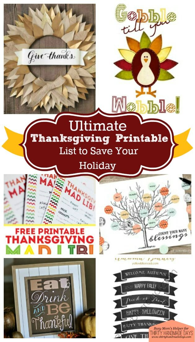 The ultimate thanksgiving printables list
