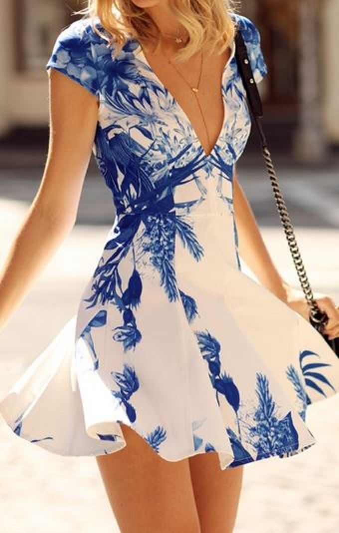 Love Blue + White! Plunging Neckline Blue and White Floral Print Dress