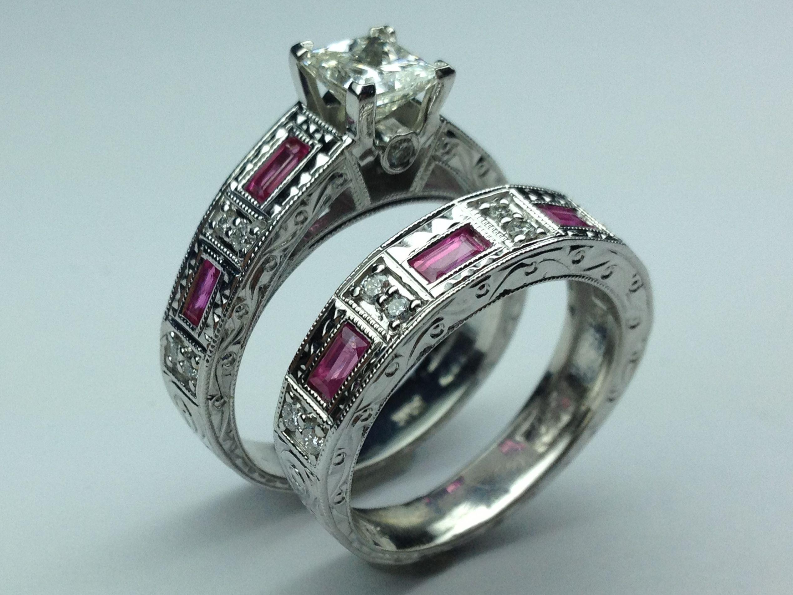 Princess Diamond bridal set engagement ring & matching