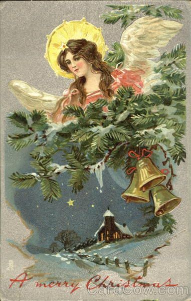 Postmark/Cancel:1908 Binghamton, NY A Merry Christmas Angels