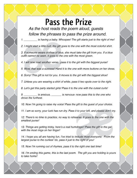 photo relating to Baby Shower Pass the Prize Rhyme Printable called Printable Customizable Youngster Shower Sport: P the Prize