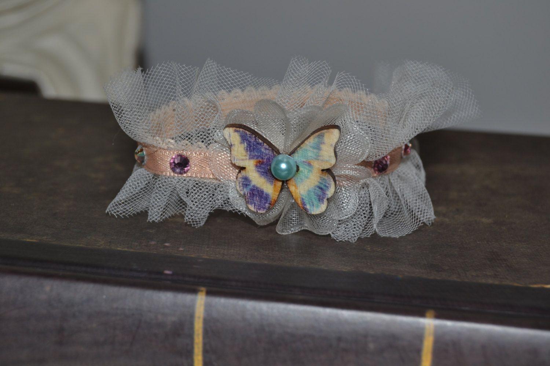 bracciale , fascetta con farfalla e tulle , cerimonia , damigella di PinkDragonflyDiGiuly su Etsy