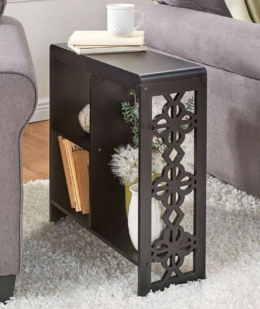 Sofa Side Table Slim Narrow Entryway Cubby Shelf Storage Furniture End Cutout Unbranded Traditional Slim Side Table Small End Tables End Tables