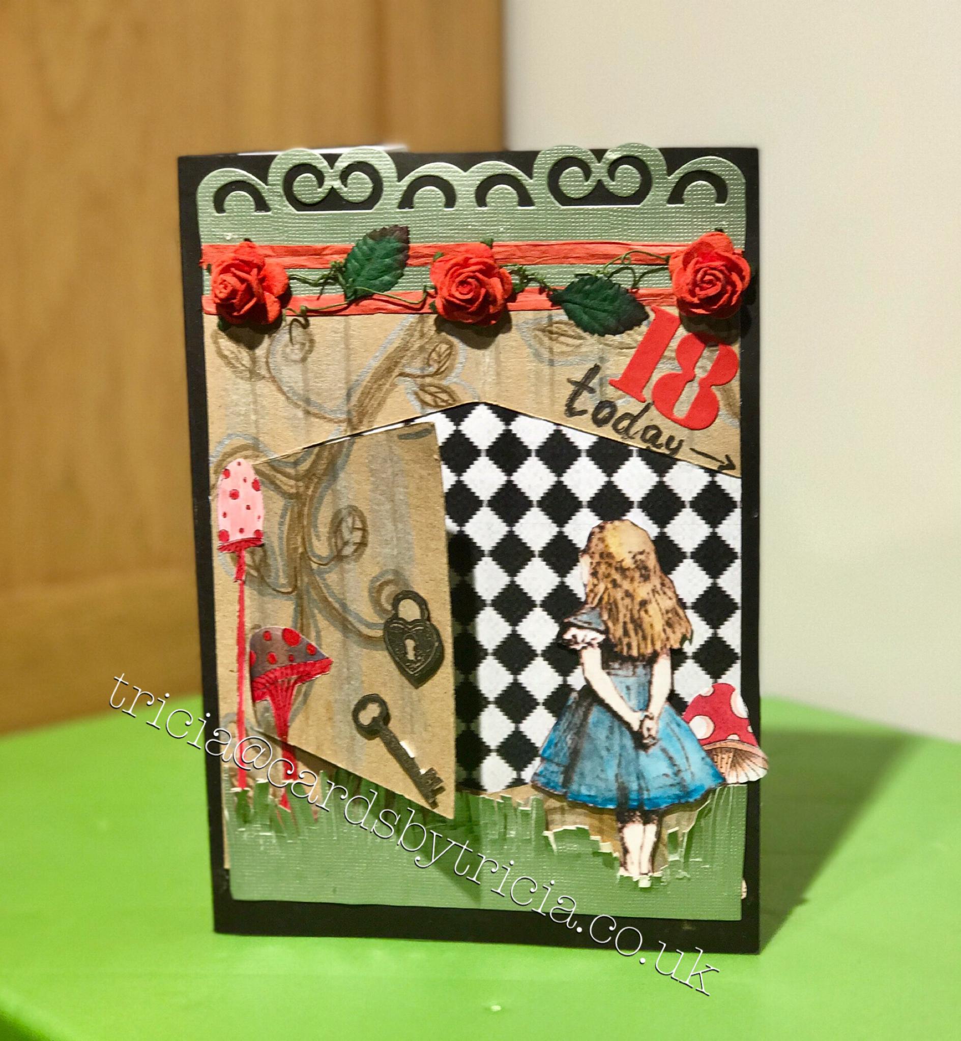 Handmade Card Alice In Wonderland Birthday Card Birthday Card Cards Handmade Alice In Wonderland Birthday Birthday Cards