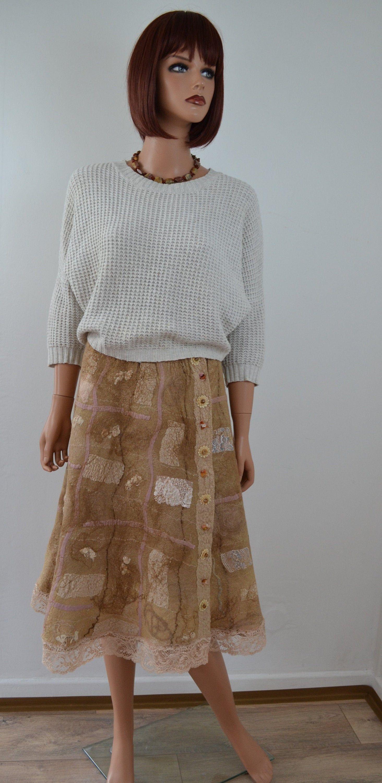 Jupe en laine merinos portefeuille feutrée style patchwork beige jupe en laine merinos chaude feutre