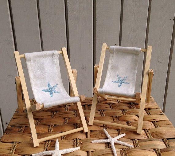 Starfish Cake Decoration Beach Chair Canvas Back Pair