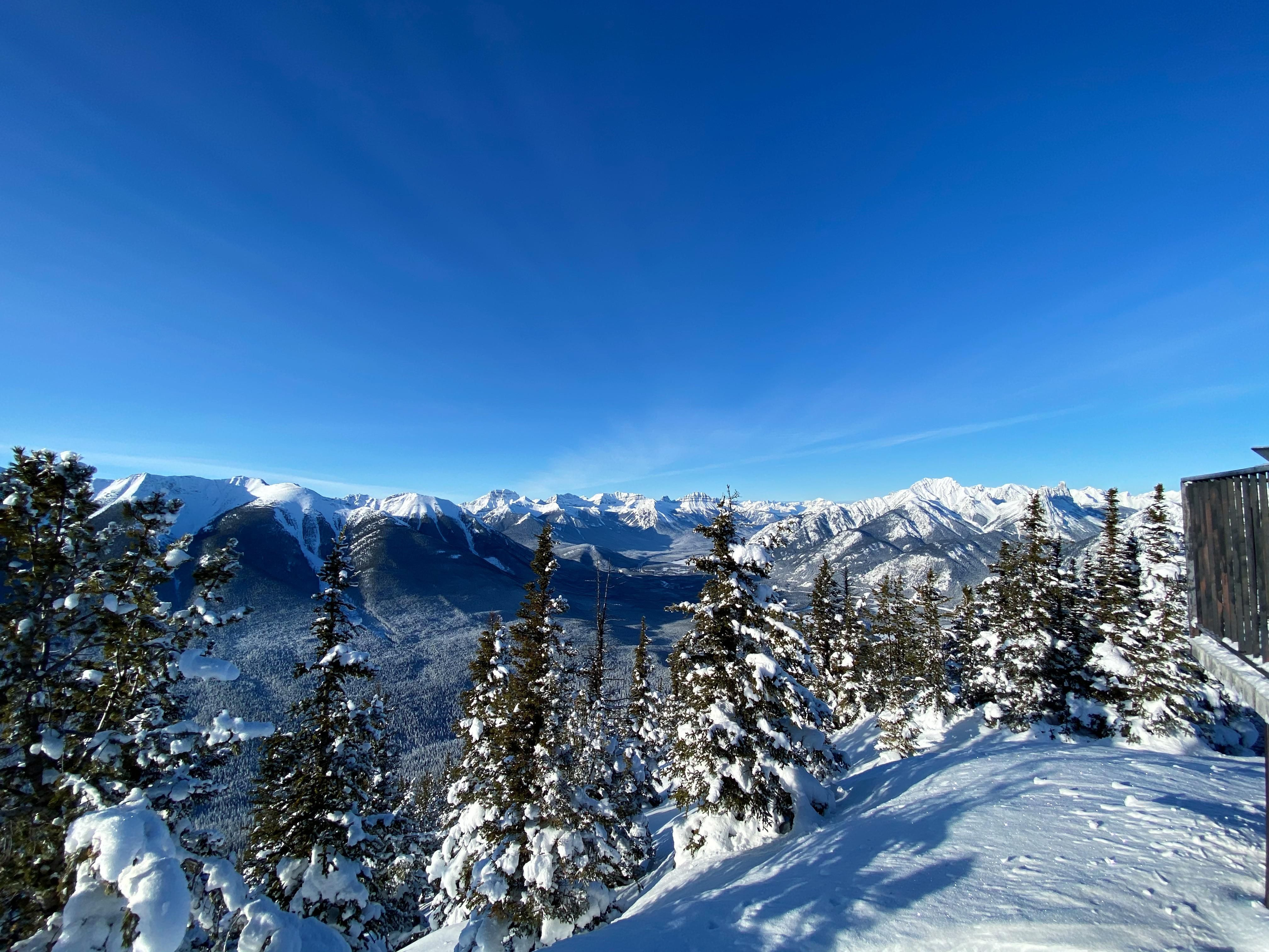 View of half of the Canadian Rockies in Banff National