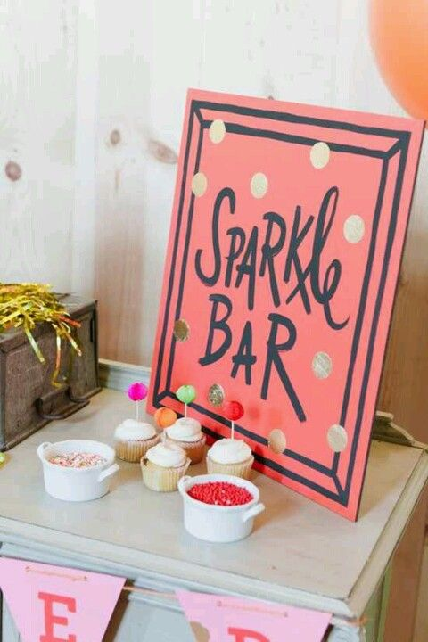 Sparkle Bar: Cute Idea For Sprinkle Topping Bar for Cupcakes,  Sundaes, Milkshakes etc. !