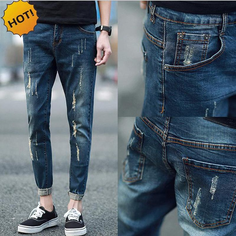 31d465aa8e8 Fashion Style Skinny Jeans Men Distressed Denim Students Moustache Effect  Leg Cuffed Teenagers Hole Ripped Pencil