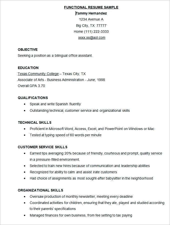 Professional Resume Samples 2019 Functional Resume Template