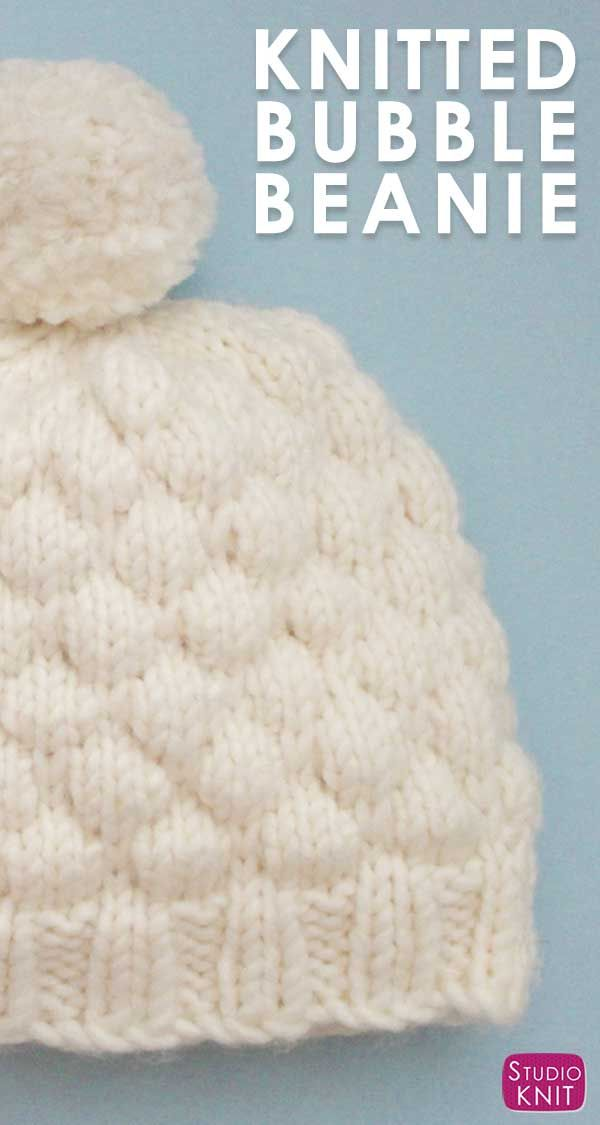Bubble Stitch Beanie Hat Knitting Pattern by Studio Knit.   All ...