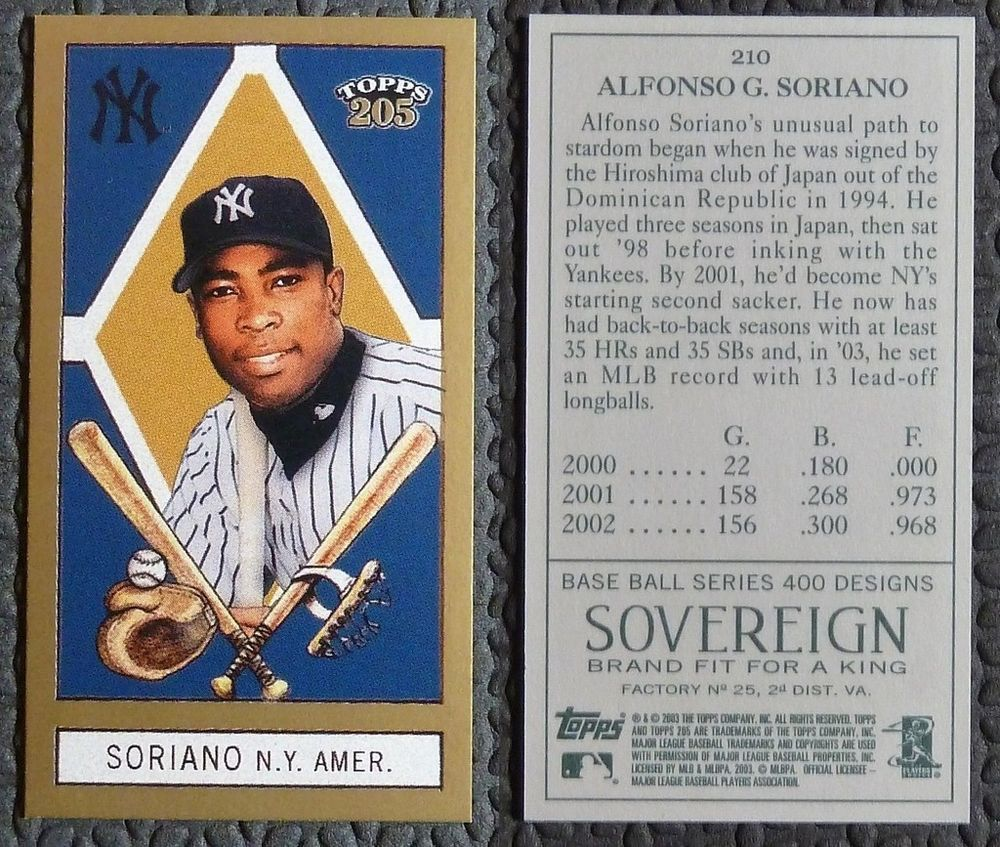 2003 Topps T 205 210 Sovereign Green Alfonso Soriano Mini Mint Sp Ny Yankees Ny Yankees Yankees Baseball Cards