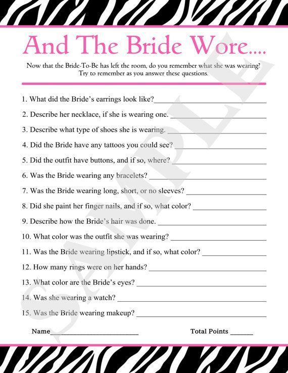 instant download printable and the bride wore by jessica91582 250 free bridal shower games