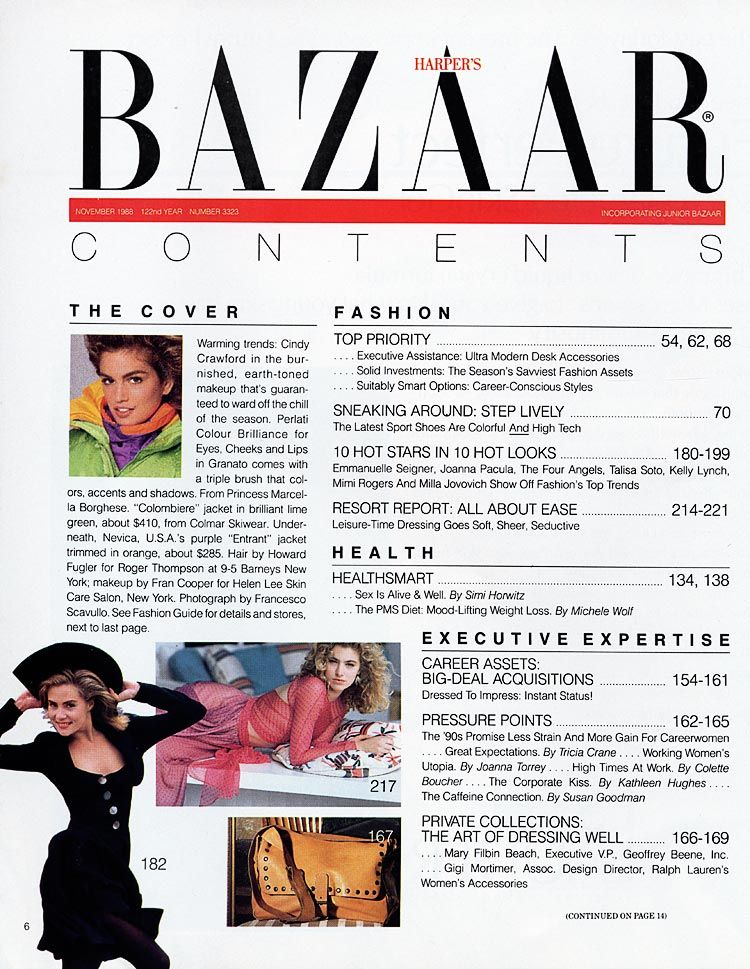 The Harpers Bazaar table of contents adds the masthead of ...