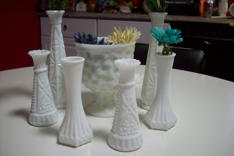 White Milk Glass Vases/ Vintage Wedding Centerpiece Vases