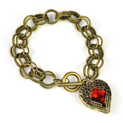 Vintage Bronze Chain Angel Wing With Red Heart Pendant Charm Bracelet
