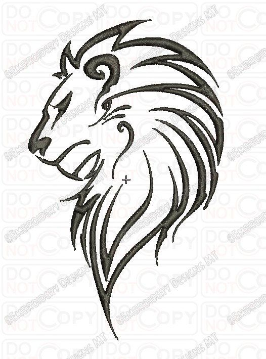 Lion Outline Tribal Embroidery Design In 3x3 4x4 And 5x7 Sizes Etsy Tribal Lion Tattoo Lion Tattoo Tribal Lion
