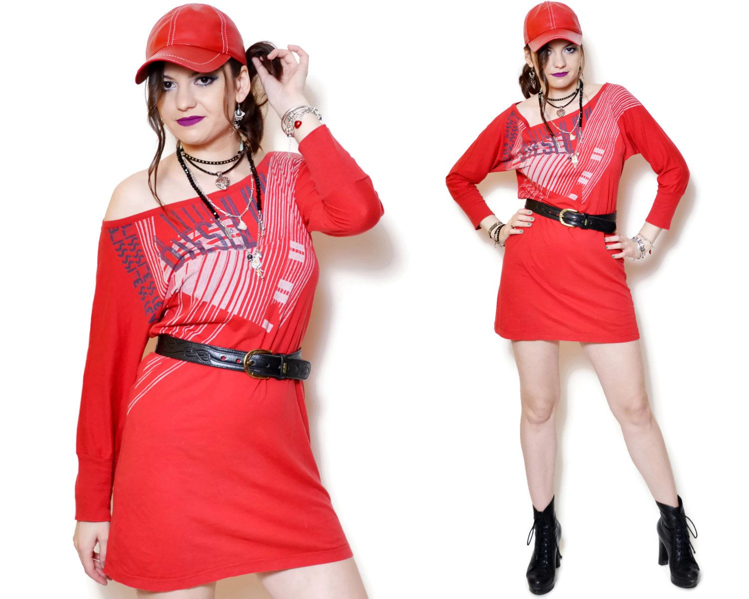 Vintage red dress with sayings theres a small hole near one of the