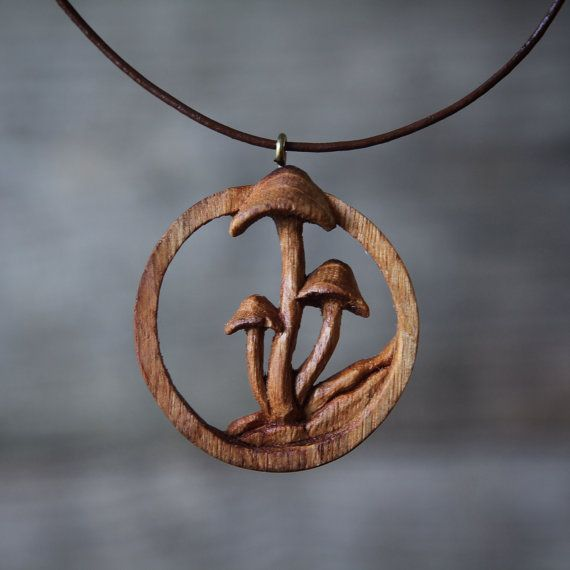 Hand carved oak mushroom pendant wooden necklace pinterest hand carved oak mushroom pendant wooden necklace by gilesnewman mozeypictures Gallery