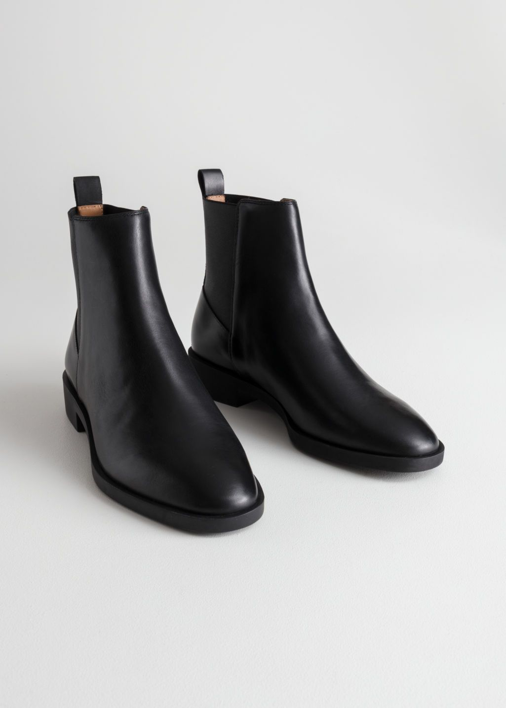 e3d0877477 Back image of Stories chelsea leather boots in black