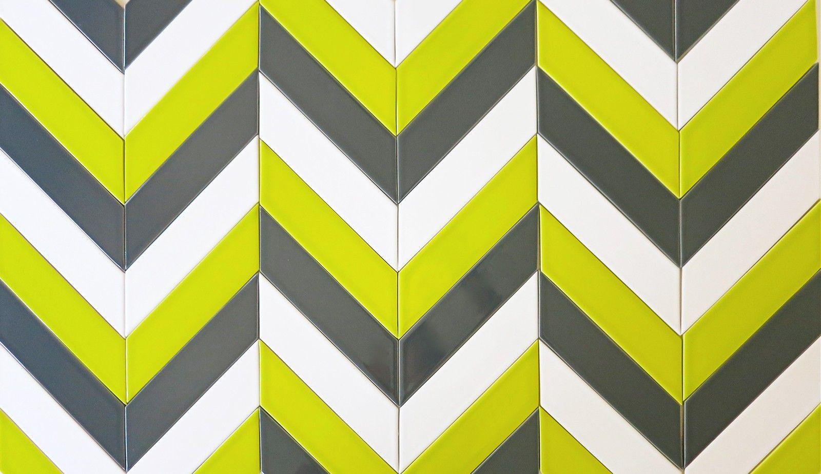 Modwalls Kiln Chevron Chartreuse Milk & Carbon Ceramic Tile
