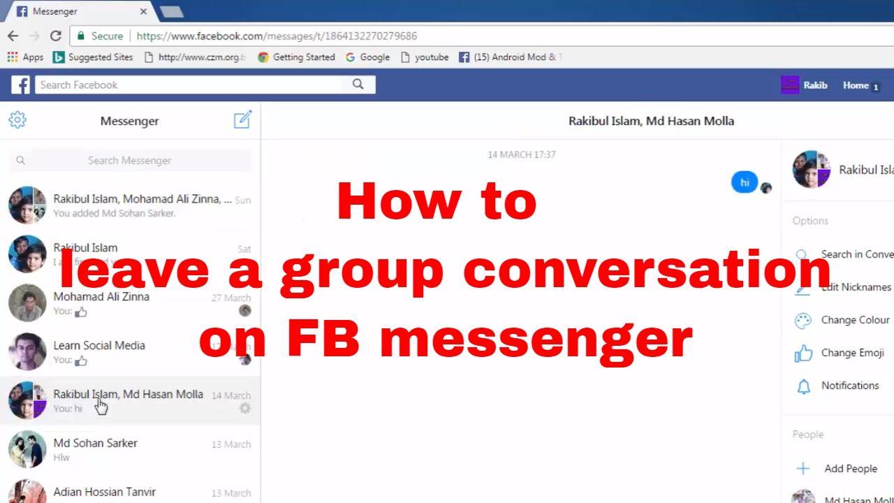 How To Leave A Group Conversation On Facebook Messenger Fb Tips 64 Learn Social Media Facebook Messenger Social Media
