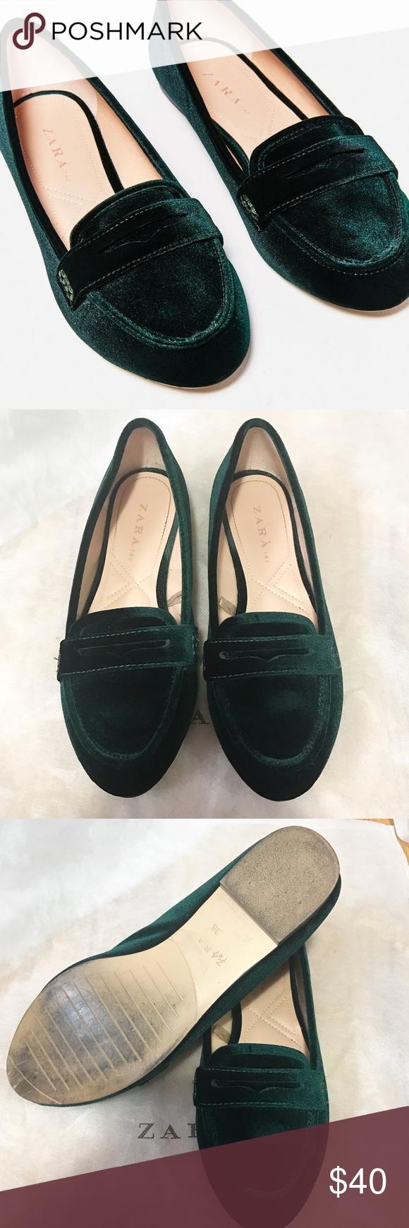 5f72e4e3da2 Zara green velvet loafers Used twice great condition. Zara Shoes Flats    Loafers