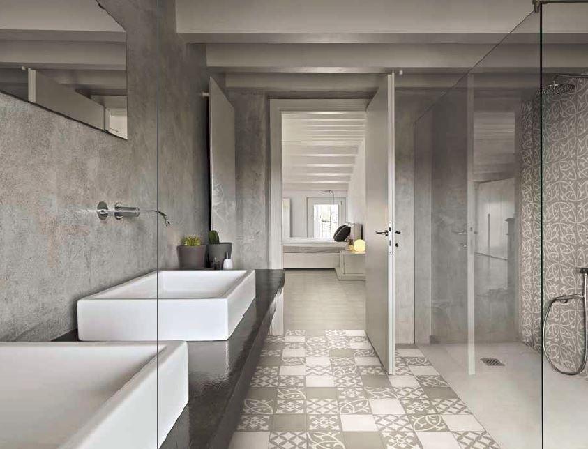Carreaux ciment authentique, salle de bain et douche SHOWROOM ...