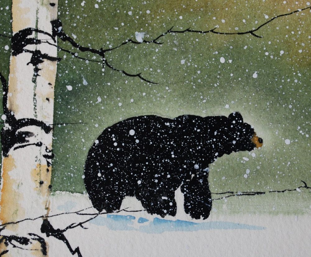 one of a kind water color painting of a black bear in a birch tree
