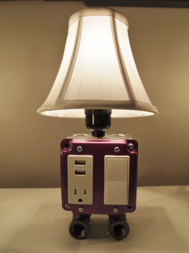 Table Or Desk Lamp With Usb Charging Station And Electric Outlet So