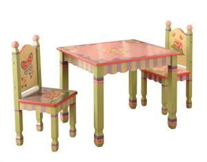 Hand Carved Wooden Kids Pink And Green Table And Chairs
