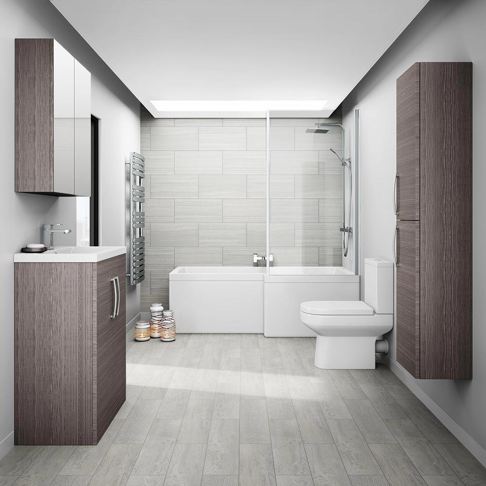 Brooklyn Grey Avola Tallboy Suite | Grey bathroom furniture, Grey ...