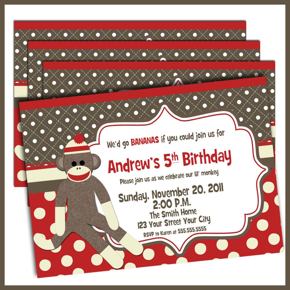 Sock Monkey Birthday Invitations Sock Monkey Invites by LullabyLoo ...