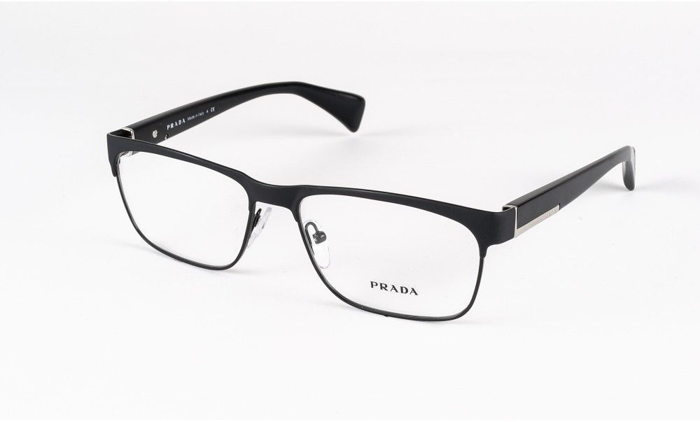 88ae413e589 NEW PRADA PLASTIC BLACK SILVER MENS EYEGLASSES VPR 61P GAQ-101 55MM 16-140  ITALY  PRADA  Rectangular