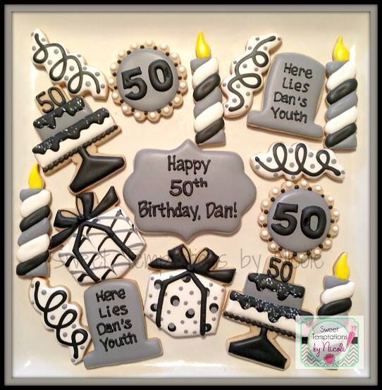 50th Birthday Decorated Sugar Cookies