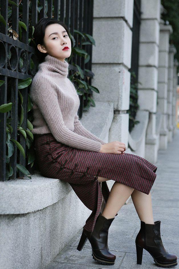 50% Wool Plaid Check Wrap Midi Skirt